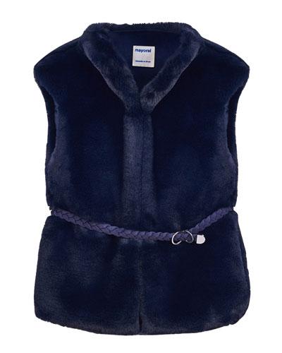 Girl's Faux Fur Vest w/ Belt, Size 8-16