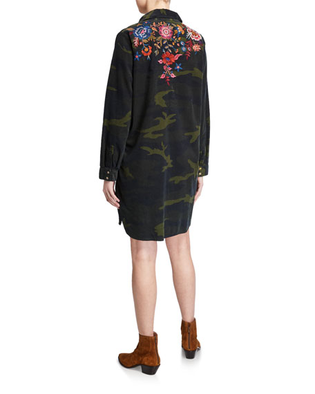 Johnny Was Margot Camo Long-Sleeve Collared Tunic Dress w/ Embroidery