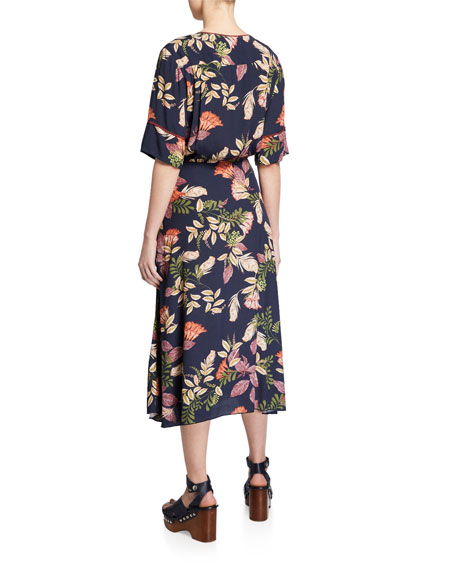 Johnny Was Ryker Mixed Elbow-Sleeve Midi Wrap Dress