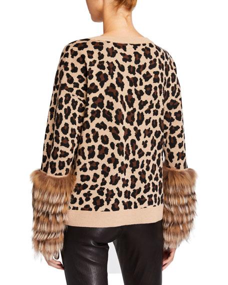 Alice + Olivia Shiela Leopard-Print Pullover with Fur Cuffs