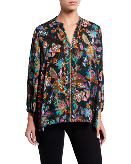 Johnny Was Floral Print Effortless Swing Blouse