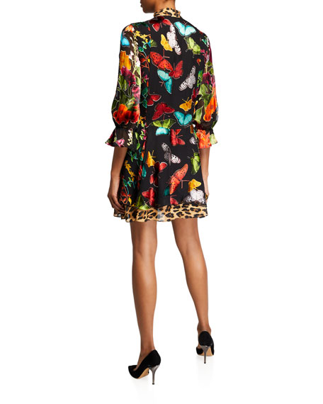 Alice + Olivia Moore Layered Short Blouson-Sleeve Dress