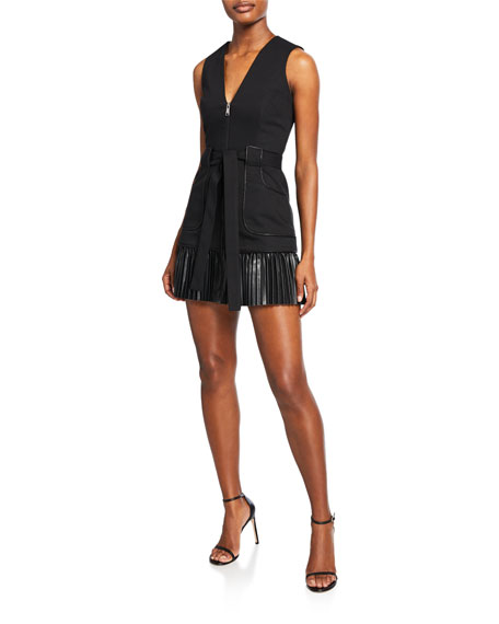 Alexis Kelsie Sleeveless Zip-Front Leather Combo Dress