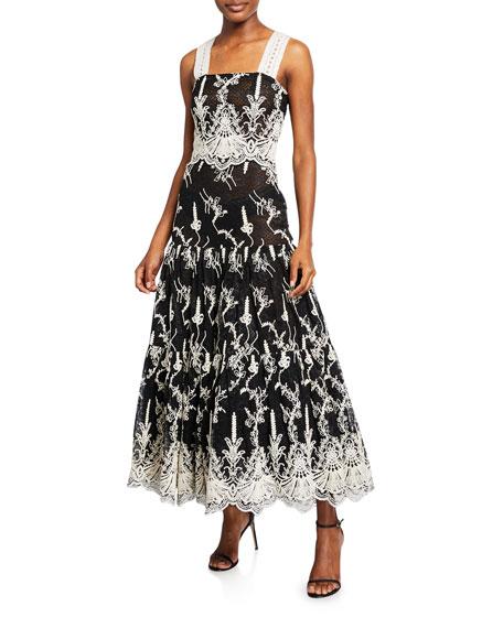 Alexis Karolina Two-Tone Sleeveless Embroidered Lace Dress