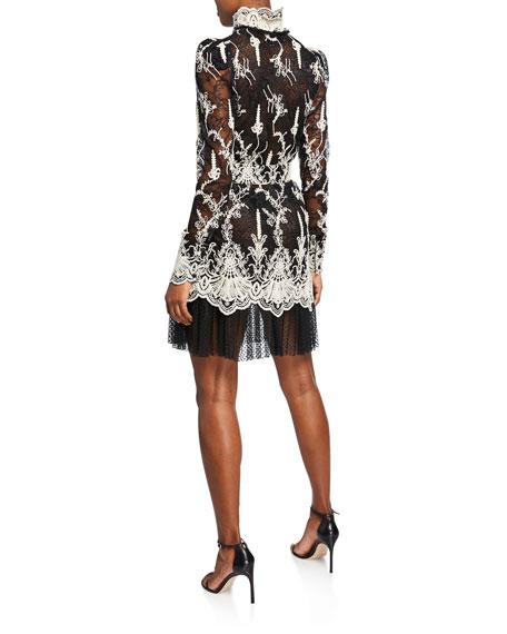 Alexis Hilaria High-Neck Lace Long-Sleeve Dress