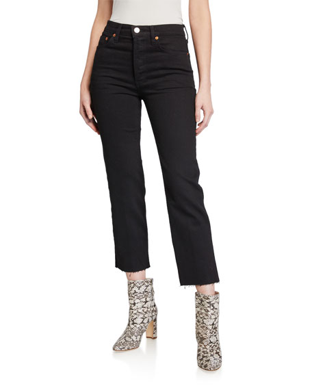 Re/done Jeans HIGH-RISE STOVEPIPE CROPPED JEANS