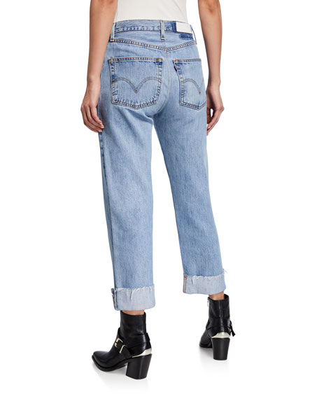 RE/DONE 90s Loose Straight-Leg Cuffed Jeans