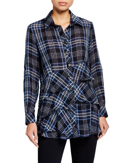 Finley Jenna Long-Sleeve Shimmer Plaid Shirt