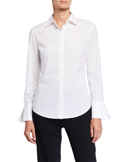 Natori Cotton Poplin Button-Down Shirt