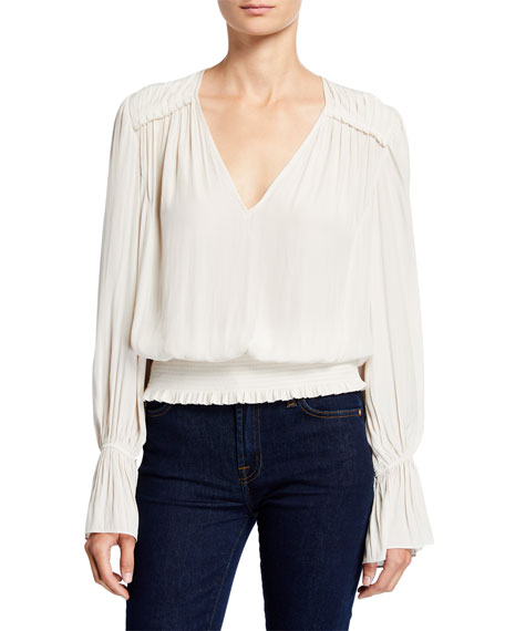 Ramy Brook Linda Bell-Sleeve Smocked V-Neck Top