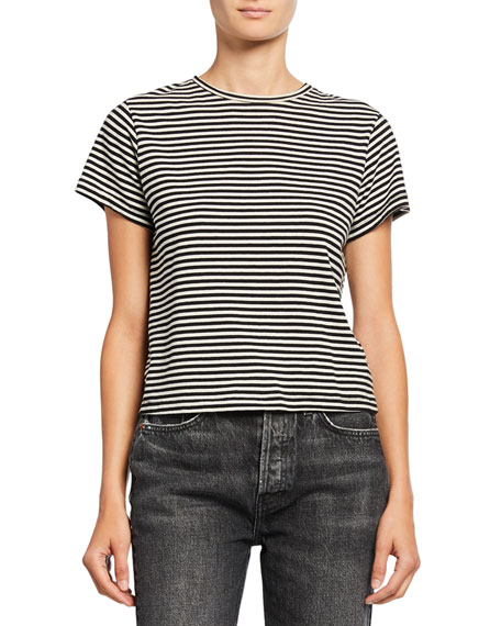 Re/done Tops CLASSIC STRIPED CREWNECK TEE