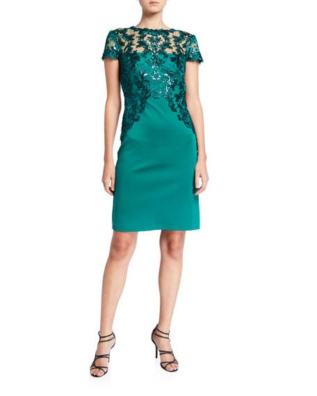 Tadashi Shoji Cap-Sleeve Neoprene Dress with Sequin Lace Detail