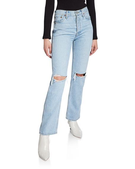 Re/done Jeans High-Rise Distressed Rigid Straight-Leg Jeans