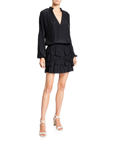 Ramy Brook Juno Tiered Long-Sleeve Short Dress