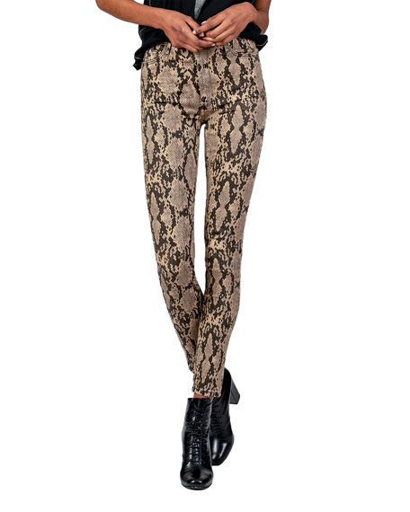 Image 2 of 4: Christie Super High-Rise Python-Print Jeans