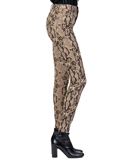 Image 3 of 4: Christie Super High-Rise Python-Print Jeans