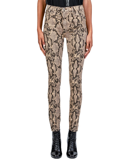 Image 1 of 4: Christie Super High-Rise Python-Print Jeans