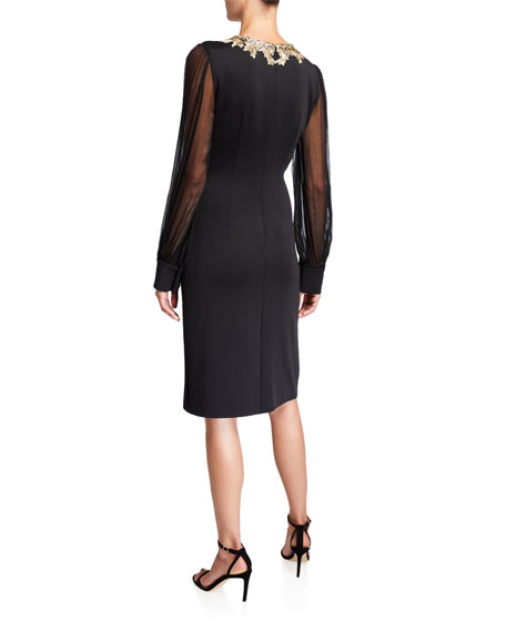 Tadashi Shoji Chiffon Long-Sleeve Split-Neck Neoprene Dress with Lace-Trim