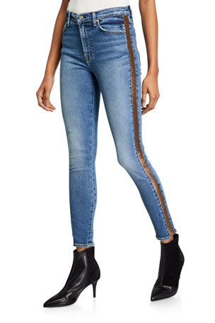 7 for all mankind High-Waist Ankle Skinny Jeans with Metallic Stripes