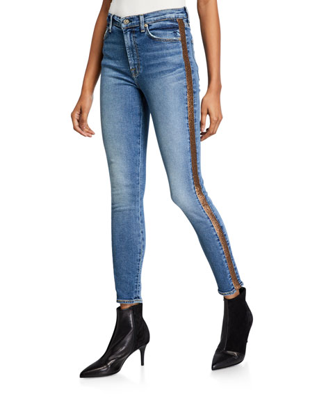 7 For All Mankind Shimmer Stripe Skinny Ankle Jeans In Luxe Vintage Muse 3 In Blue/brown