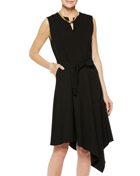 Misook Sleeveless Asymmetrical Ponte Dress