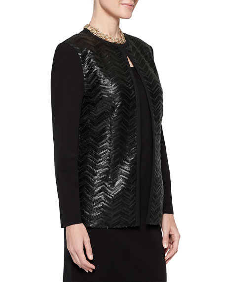 Misook Faux Leather & Sequin Front Jacket