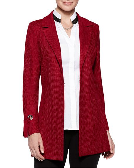 Misook Plus Size Grommet and Tie-Cuff Jacket