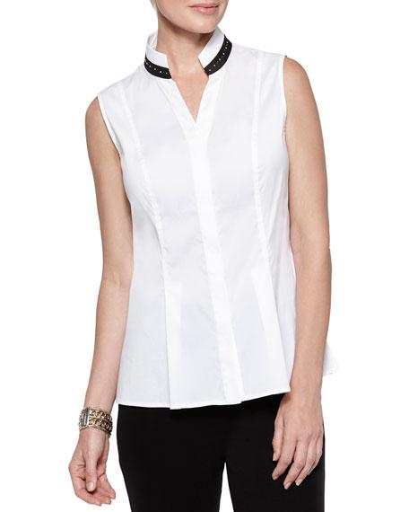 Misook Sleeveless Studded-Collar Shirt
