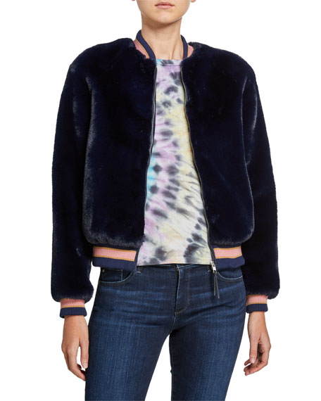 MOTHER The Letterman Faux-Fur Bomber Jacket