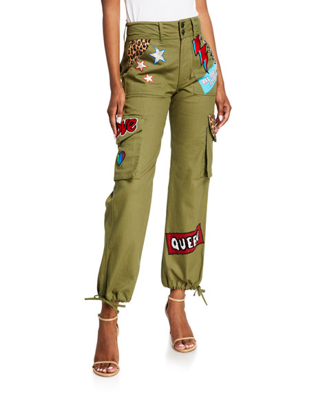 ALICE + OLIVIA JEANS High-Waisted Cargo Pants w/ Patches