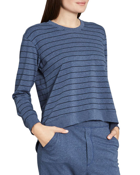 Frank & Eileen Tee Lab Graceful Lightweight Striped French-Terry Sweatshirt