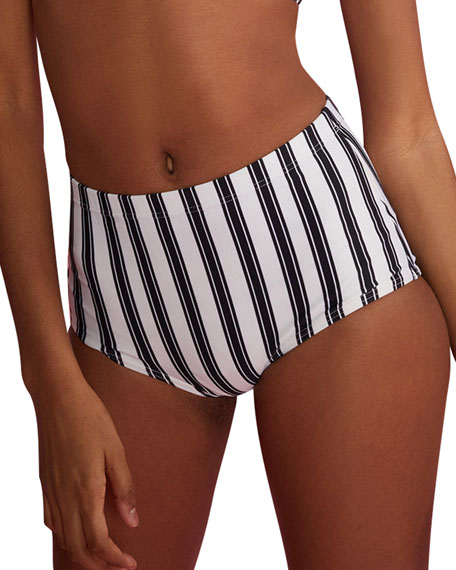 Cynthia Rowley Loren Striped High-Waist Bikini Bottom
