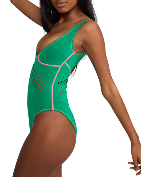 Cynthia Rowley Maui Perforated One-Piece Swimsuit