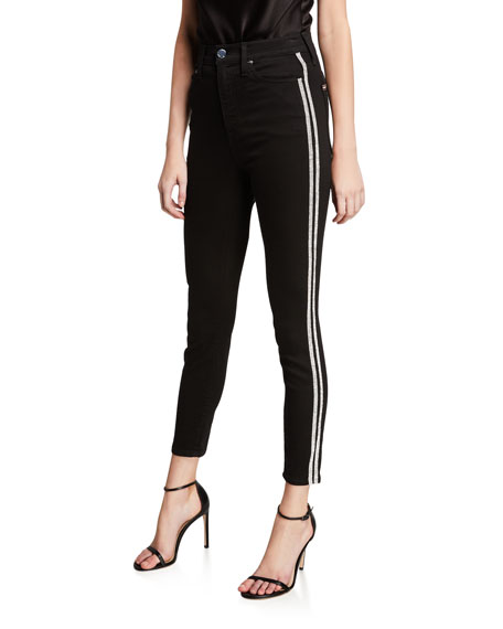 ALICE + OLIVIA JEANS Good High-Rise Ankle Jeans with Crystal Stripes