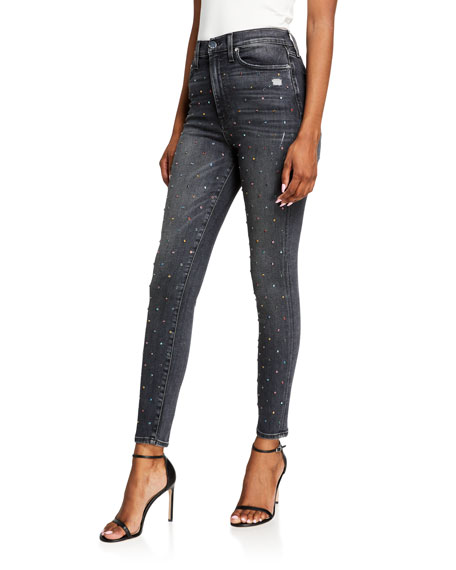 ALICE + OLIVIA JEANS Good High-Rise Ankle Skinny Jeans w/ Rainbow Crystals