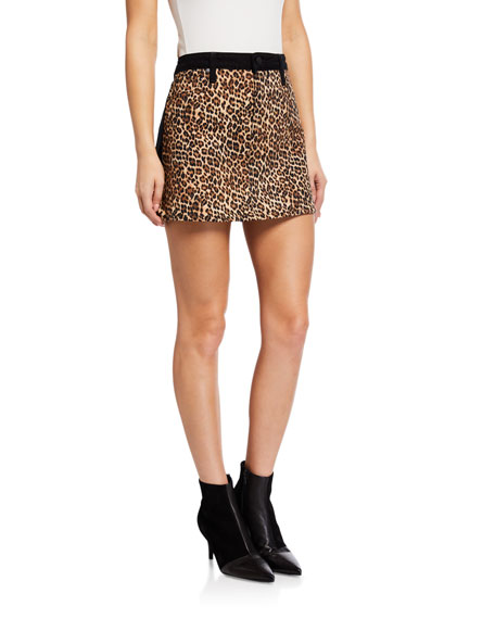 ALICE + OLIVIA JEANS Good High-Rise Mini Skirt w/ Leopard-Print Front