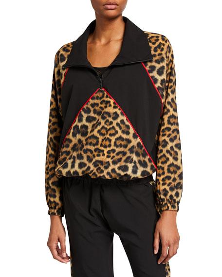 Terez Leopard Blocked Quarter-Zip Wind-Resistant Jacket