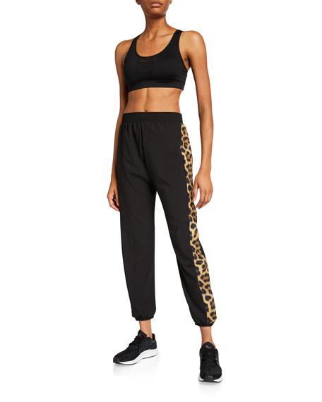 Terez Leopard Side-Printed Wind Jogger Pants