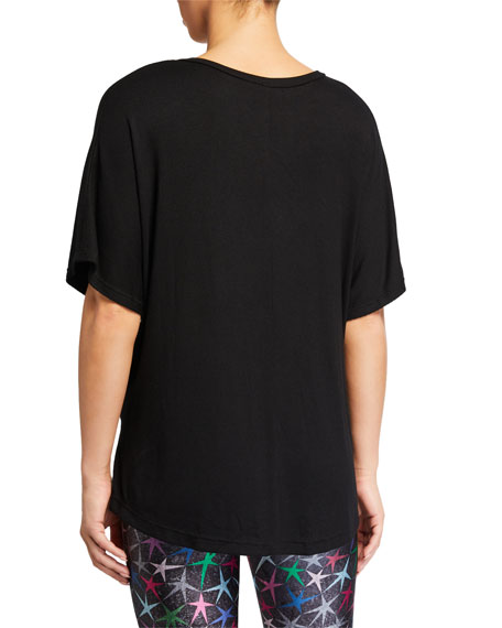 Terez Ribbed V-Neck Short-Sleeve Top  Black