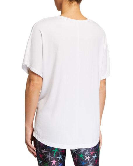 Terez Ribbed V-Neck Short-Sleeve Top, White