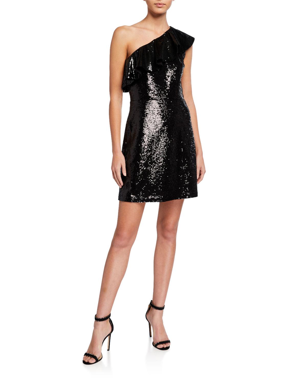 MICHAEL Michael Kors One-Shoulder Sequined Mini Dress
