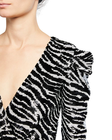 MICHAEL Michael Kors Bengal Sequin Long-Sleeve Mini Dress