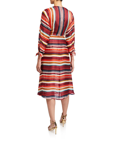 Elliatt Edie V-Neck 3/4-Sleeve Striped Dress