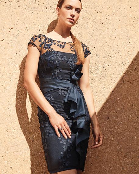Carmen Marc Valvo Infusion Illusion-Neck Draped-Side Crepe Dress