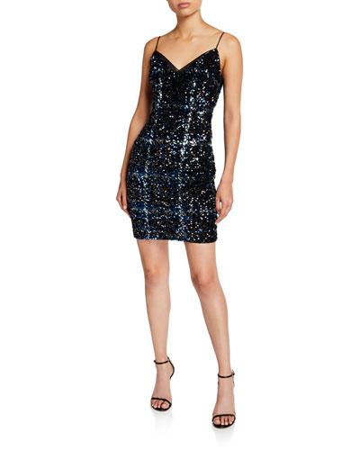 Plaid Sequin V-Neck Sleeveless Sheath Dress