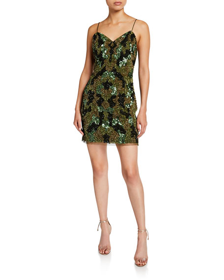 Aidan by Aidan Mattox Camo Sequin Sweetheart Mini Slip Dress