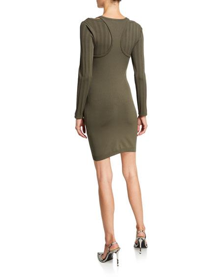 alexanderwang.t Mesh Stripe Bi-Layer Long-Sleeve Mini Dress