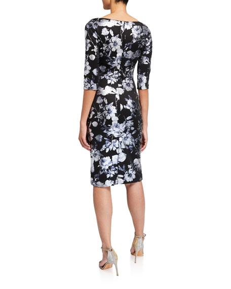 Jovani Stone Embellished Floral 3/4-Sleeve Dress w/ Drape Detail