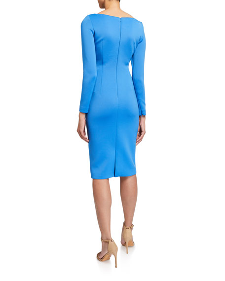 Image 2 of 2: Long-Sleeve High-Neck Draped Front Scuba Dress