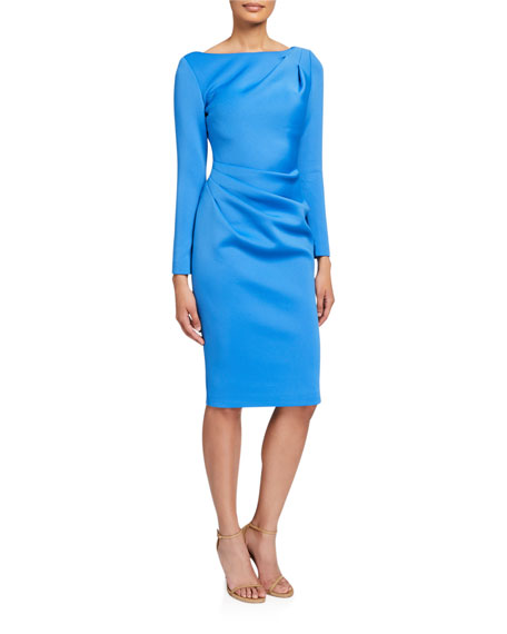 Image 1 of 2: Long-Sleeve High-Neck Draped Front Scuba Dress